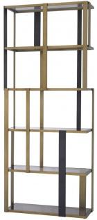 Casa Padrino Luxus Regalschrank Messing / Mattschwarz / Grau 100 x 37 x H. 240, 5 cm - Edelstahl Schrank mit 5 Glasregalen - Wohnzimmerschrank - Büroschrank - Luxus Möbel - Vorschau 3