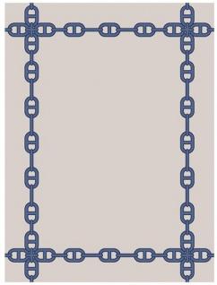 Wunderschöner Luxus Teppich aus 100% Neuseeland-Wolle mit Mäander Muster, Blau/Creme, Samtweich 300 x 400 cm - Hochwertige Qualität