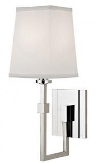 Casa Padrino Luxus Wandleuchte Silber / Weiß 13, 3 x 19, 1 x H. 38, 7 cm - Wandlampe mit Lampenschirm