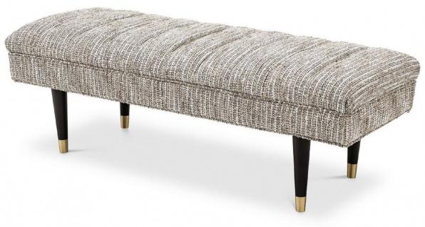 Casa Padrino Luxus Sitzbank Beige / Schwarz / Messingfarben 134 x 50 x H. 45 cm - Gepolsterte Massivholz Bank - Wohnzimmer Möbel - Hotel Möbel - Luxus Kollektion