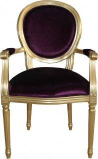 Casa Padrino Barock Luxus Esszimmer Stuhl mit Armlehnen Lila / Gold - Designer Stuhl - Luxus Qualität - Limited Edition