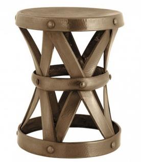 Casa Padrino Designer Luxus Beistelltisch / Sitzhocker Messingfarben Höhe 37 cm, Durchmesser 29 cm - Edelstahl Hocker