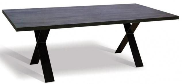 Casa Padrino Luxus Massivholz Esstisch - Verschiedene Größen & Farben - Küchentisch mit rustikaler Eichenholz Tischplatte und Metallbeinen - Esszimmer Tisch