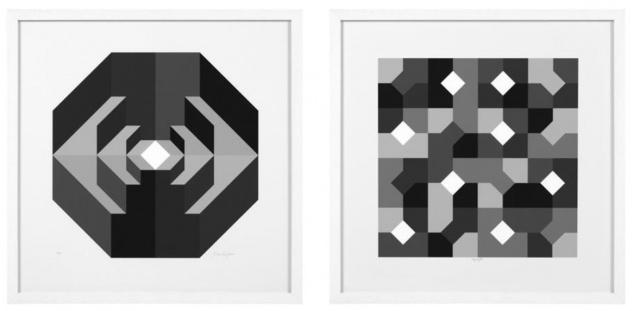 Casa Padrino Designer Deko Bilder Set Abstrakte Kunst Schwarz / Grau / Weiß 75 x H. 75 cm - Luxus Kunstdrucke mit Holzrahmen