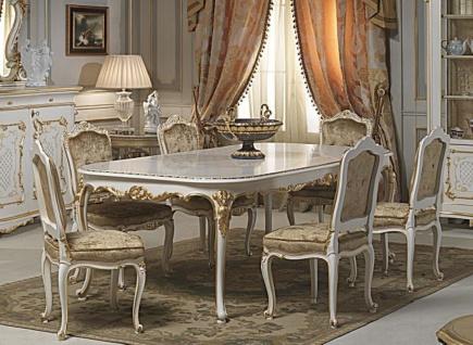 Casa Padrino Luxus Barock Esszimmer Set Weiß / Gold - 1 Esstisch & 6 Esszimmerstühle - Esszimmer Möbel im Barockstil - Hotel Restaurant Schloss Möbel - Luxus Qualität - Made in Italy
