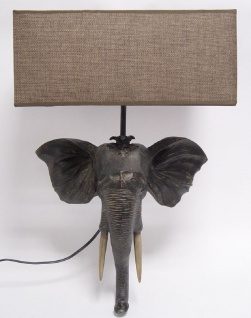 Casa Padrino Designer Wandleuchte Elefantenkopf Grau / Braun 35 x 14 x H. 51, 8 cm - Wohnzimmerlampe