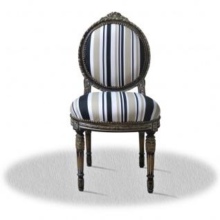 Casa Padrino Barock Salonstuhl mit Streifen 50 x 50 x H. 100 cm - Luxus Stuhl - Vorschau