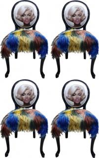Casa Padrino Luxus Barock Esszimmer Set Marilyn Monroe Bubble Gum Crazy Mehrfarbig / Schwarz 50 x 60 x H. 104 cm - 4 handgefertigte Esszimmerstühle mit Kunstfell und Bling Bling Glitzersteinen