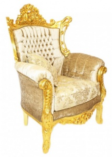 Casa Padrino Barock Wohnzimmer Set Master Creme Samtstoff / Gold - 3er Sofa + 2 Sessel - Limited Edition! - Vorschau 3
