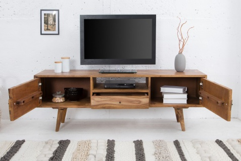 Casa Padrino Designer Fernsehschrank Natur B.140 x H.45 x T.35 - Sideboard - Kommode - Handgefertigt Massivholz! - Vorschau 3