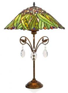 Casa Padrino Tiffany Tischleuchte Hockerleuchte Bananenblätter 40 cm ModX4d - Leuchte Lampe