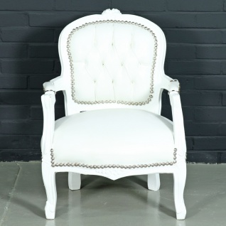 Casa Padrino Barock Kinderstuhl Weiß Lederoptik / Weiß - Kindermöbel im Antik Stil
