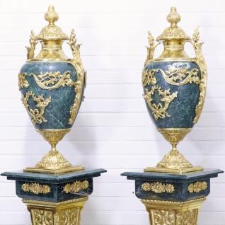 Casa Padrino Barock Vasen mit Marmor Säulen Set Blau / Gold 30 x 30 x H. 180 cm - Edel & Prunkvoll - Vorschau 4