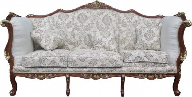 Casa Padrino Barock 3-er Sofa Creme / Braun / Gold Mod2 - Möbel Antik Stil - Limited Edition