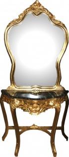 Casa Padrino Barock Spiegelkonsole mit Marmorplatte Gold Mod2 - Antik Look