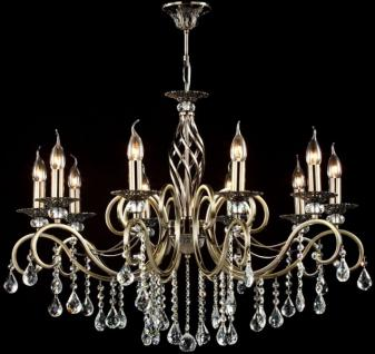 Casa Padrino Barock Kristall Decken Kronleuchter Bronze 85 x H 64 cm Antik Stil - Möbel Lüster Leuchter Hängeleuchte Hängelampe