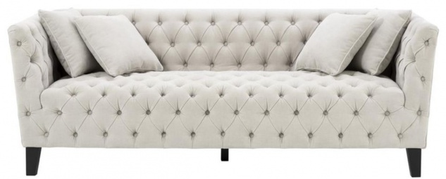 Casa Padrino Luxus Chesterfield Wohnzimmer Sofa mit 4 Kissen Sandfarben / Schwarz 217 x 92 x H. 78 cm - Luxus Möbel