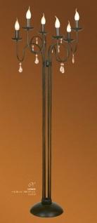 Designer Stehleuchte mit Kristall-Deco im Barock Stil, 6-Flammig, Schwarz Leuchte Lampe