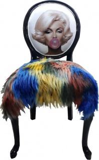 Casa Padrino Luxus Barock Esszimmer Stuhl Marilyn Monroe Bubble Gum Crazy mit Kunstfell Mehrfarbig / Schwarz - Handgefertigter Pop Art Designer Stuhl