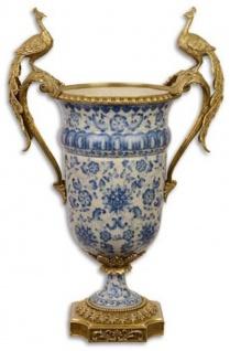 Casa Padrino Barock Deko Vase Creme / Blau / Gold 40 x 24 x H. 60, 3 cm - Prunkvolle Porzellan Blumenvase mit 2 edlen Bronze Griffen - Deko Accessoires im Barockstil