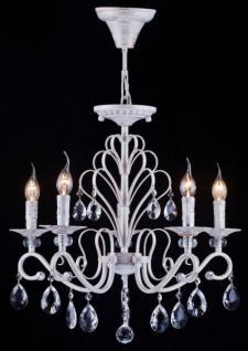 Casa Padrino Barock Decken Kristall Kronleuchter Weiß Gold 56, 5 x H 84 cm Antik Stil - Möbel Lüster Leuchter Hängeleuchte Hängelampe