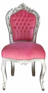 Casa Padrino Barock Esszimmerstuhl Pink/Silber ohne Armlehnen