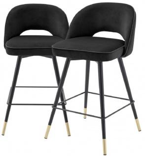 Casa Padrino Luxus Barstuhl Set Schwarz / Messingfarben 51 x 52 x H. 92, 5 cm - Barstühle mit drehbarer Sitzfläche und edlem Samtsoff - Luxus Bar Möbel