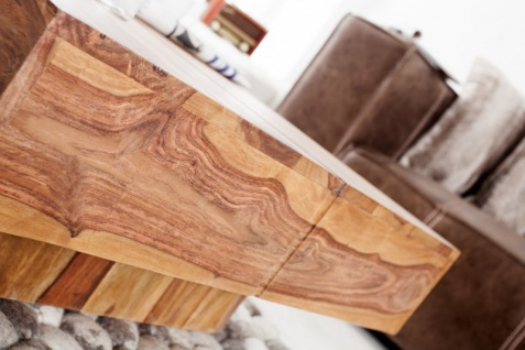 Casa Padrino Designer Massivholz Couchtisch Natur 80 x 30 cm - Salon Wohnzimmer Tisch - Vorschau 5