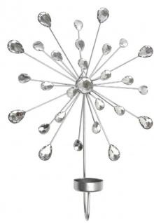 Casa Padrino Designer Wandkerzenhalter 4er Set Silber 24 x 6 x H. 31 cm - Dekorative Wanddeko