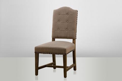 Rustikaler Eichen Stuhl aus dem Hause Casa Padrino - Bezug / Beige - Holz Eiche Massiv - Schloss Burg Anwesen Gutshaus Möbel