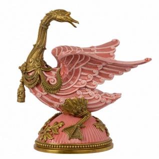Casa Padrino Barock Skulptur Gans Rose / Gold - Messing / Porzellan 33.4 x 22.8 x H 38.7 cm Mod2 - Rokoko Antik Stil Jugendstil Figur