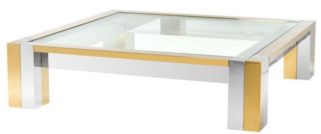 Casa Padrino Luxus Edelstahl Couchtisch Silber / Gold 120 x 120 x H. 30 cm - Designer Wohnzimmertisch mit Glasplatte
