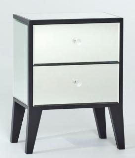 Casa Padrino Luxus Nachttisch mit 2 Schubladen Schwarz - Luxus Schlafzimmermöbel