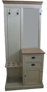 Casa Padrino Landhausstil Garderobe Antik Weiß / Naturfarben 93 x 43 x H. 200 cm - Handgefertigter Garderobenschrank mit Spiegel und Schirmständern