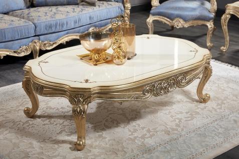 Casa Padrino Luxus Barock Couchtisch Weiß / Antik Gold 143 x 94 x H. 44 cm - Prunkvoller Barock Wohnzimmertisch