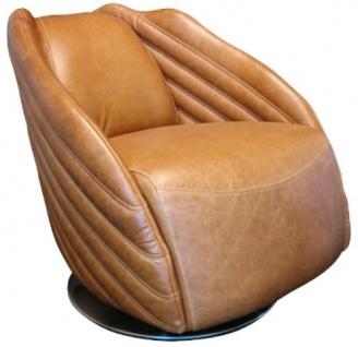Casa Padrino Luxus Drehsessel Hellbraun / Silber 69 x 97 x H. 79 cm - Echtleder Sessel im Art Deco Design