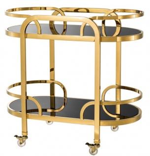 Casa Padrino Luxus Servierwagen Gold / Schwarz 85 x 46, 5 x H. 80, 5 cm - Hotel Restaurant Gastronomie Trolley