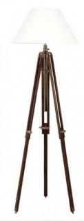 Casa Padrino Luxus Studioleuchte Teleskop Vintage Lampe Stehleuchte Braunes Holz / Messing - Brass Finish - Luxus Qualität
