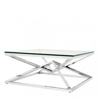 Casa Padrino Luxus Couchtisch Edelstahl Nickel Finish 100 x 100 x H. 45 cm - Wohnzimmer Tisch Möbel