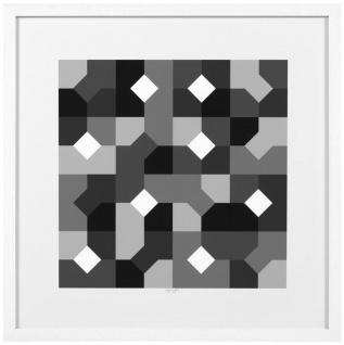 Casa Padrino Designer Deko Bilder Set Abstrakte Kunst Schwarz / Grau / Weiß 75 x H. 75 cm - Luxus Kunstdrucke mit Holzrahmen - Vorschau 3
