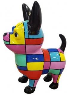 Casa Padrino Designer Dekofigur Chihuahua Hund Mehrfarbig H. 55 cm - Wetterbeständige Deko Skulptur - Wohnzimmer Deko - Garten Deko - Designer Deko Tierfigur