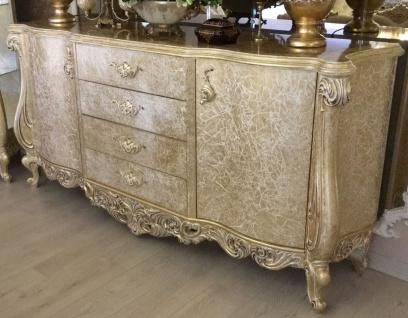 Casa Padrino Luxus Barock Sideboard Antik Gold 220 x 55 x H. 110 cm - Massivholz Schrank mit 2 Türen und 4 Schubladen - Edel & Prunkvoll