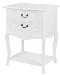 Casa Padrino Landhausstil Shabby Chic Beistelltisch mit 2 Schubladen Antik Weiß 55 x 40 x H. 73 cm - Landhausstil Möbel