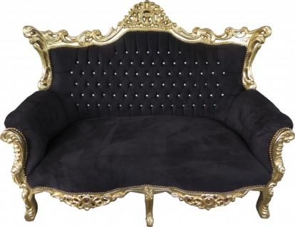 Casa Padrino Barock 2-er Sofa Master Schwarz / Gold mit Bling Bling Glitzersteinen - Antik Stil Möbel