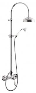 Jugendstil Retro Badezimmer Duschgarnitur Brausemischer mit Säulenbrause Silber / Weiß - Dusch Armatur Brauseset