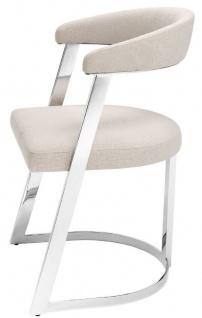 Casa Padrino Designer Stuhl mit Armlehnen Naturfarben / Silber 53, 5 x 49 x H. 78 cm - Esszimmerstuhl - Bürostuhl - Designermöbel - Vorschau 2