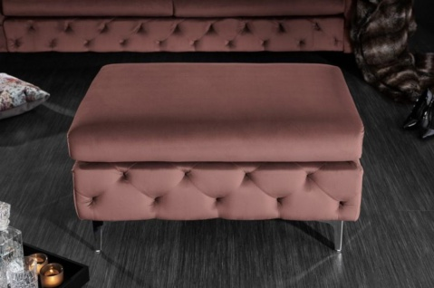 Casa Padrino Chesterfield Samt Hocker Altrosa / Silber 90 x 63 x H. 47 cm - Moderner rechteckiger Sitzhocker - Wohnzimmermöbel - Vorschau 3