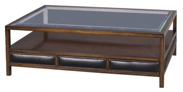 Casa Padrino Luxus Couchtisch Braun / Schwarz 120 x 80 x H. 41 cm - Mahagoni Wohnzimmertisch mit 3 Schubladen