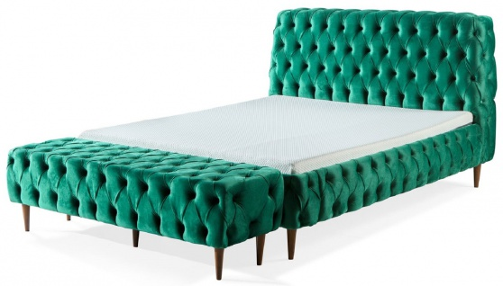 Casa Padrino Luxus Chesterfield Doppelbett Grün / Braun - Verschiedene Größen - Modernes Bett mit Matratze und Sitzbank - Schlafzimmer Möbel