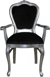 Casa Padrino Luxus Barock Esszimmer Set Schwarz / Silber - 6 handgefertigte Esszimmerstühle - 2 Stühle mit Armlehnen und 4 Stühle ohne Armlehnen - Barock Esszimmermöbel - Vorschau 2